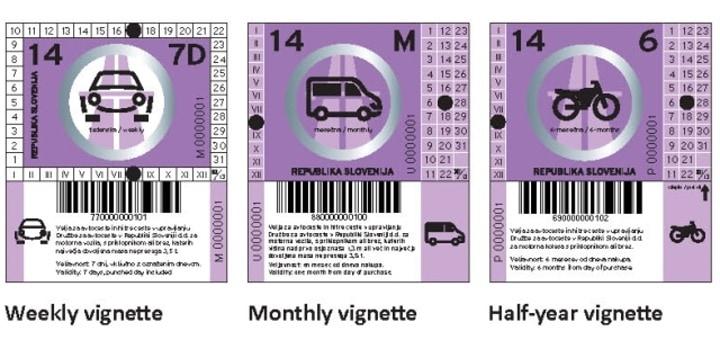 Ceny slovinských dálničních známek 2015