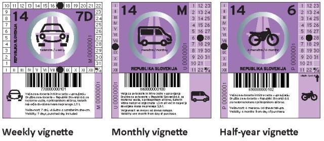 Slovinské dálniční známky - design