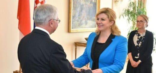 setkání nového velvyslance s chorvatskou prezidentkou