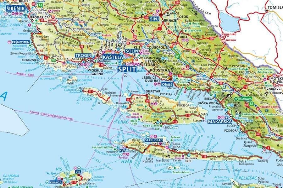 Stáhněte si mapu Chorvatska pro rok 2020